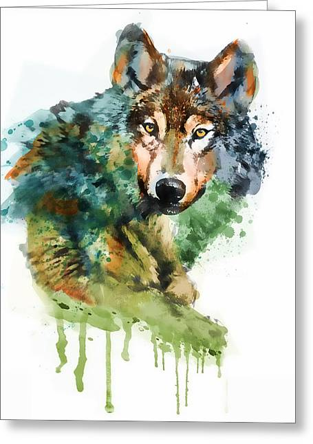 Wolf Face Watercolor Greeting Card by Marian Voicu