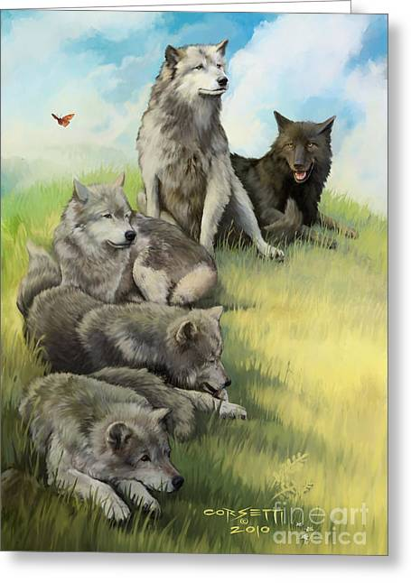 Wolf Gathering Lazy Greeting Card