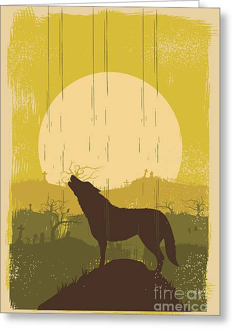 Wolf Howling Background, Vector Greeting Card