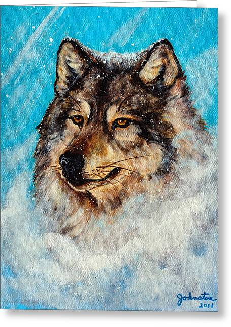 Wolf In A Snow Storm Greeting Card by Bob and Nadine Johnston