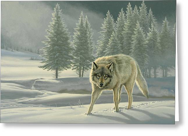 Wolf In Fog    Greeting Card