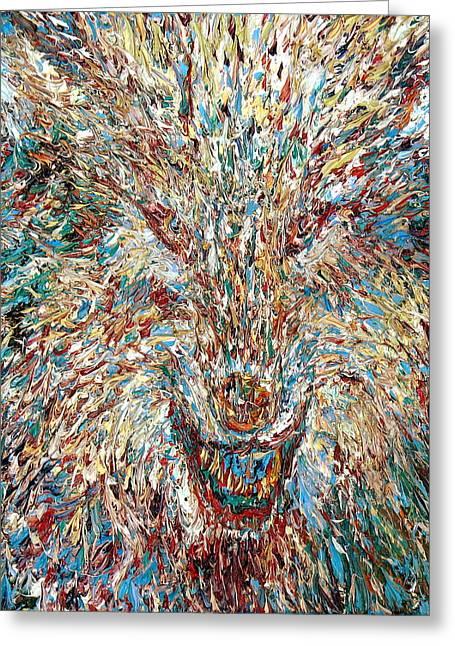 Wolf - Oil Portrait Greeting Card by Fabrizio Cassetta