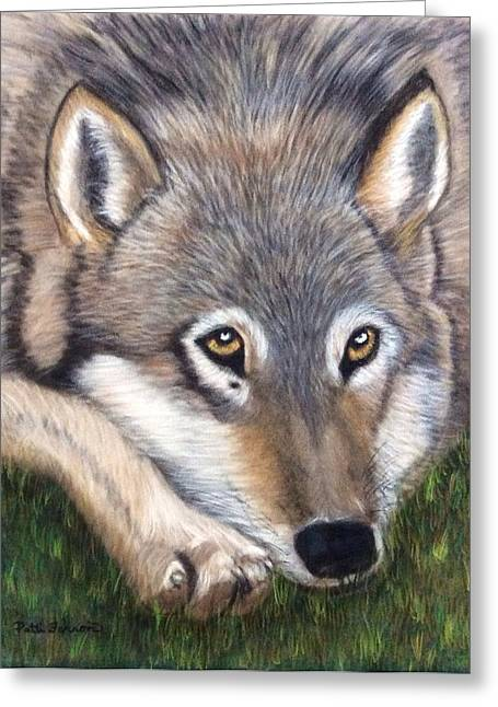 Greeting Card featuring the painting Wolf by Patti Ferron