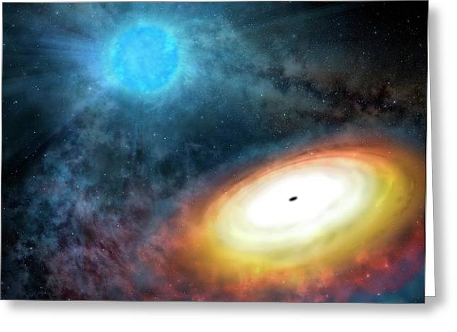 Wolf-rayet Star And Black Hole Greeting Card by Gemini Observatory/aura, Artwork By Lynette Cook