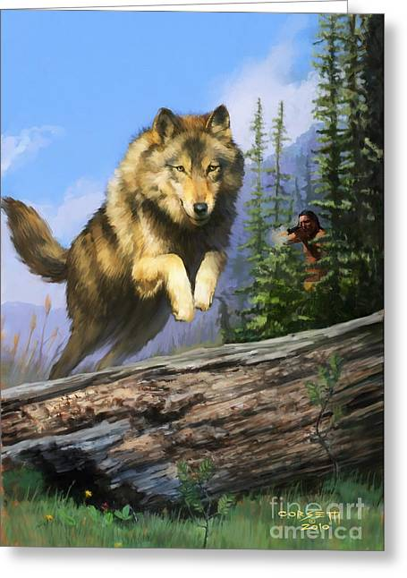 Greeting Card featuring the painting Wolf Run Indian Hunter by Rob Corsetti