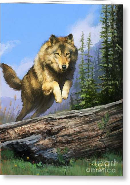 Greeting Card featuring the painting Wolf Run by Rob Corsetti