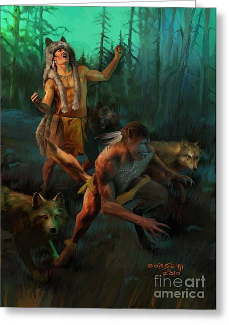 Greeting Card featuring the painting Wolf Warriors Change by Rob Corsetti
