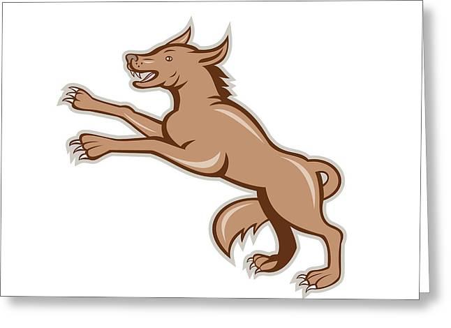 Wolf Wild Dog On Hind Legs Cartoon Greeting Card by Aloysius Patrimonio