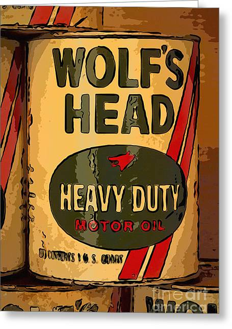 Wolf's Head Oil Can Greeting Card