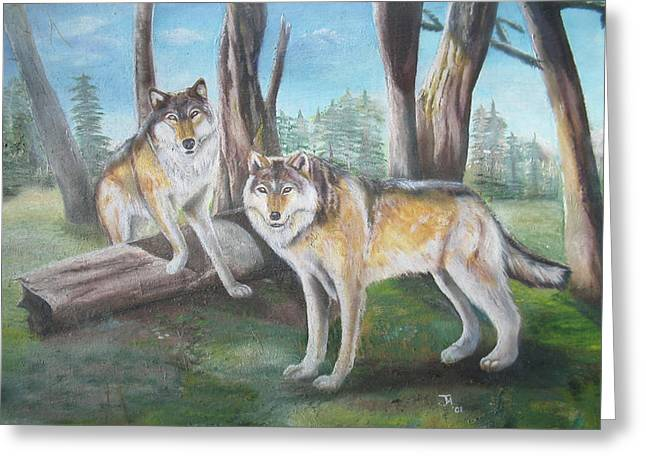 Wolves In The Forest Greeting Card