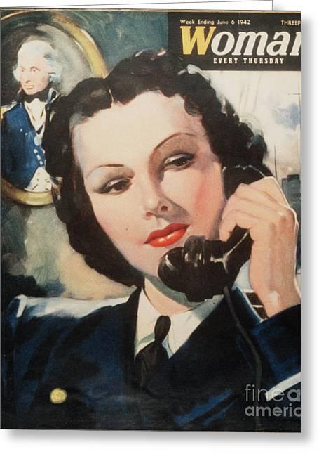 Woman 1940s Uk Navy Women At War  Ww2 Greeting Card