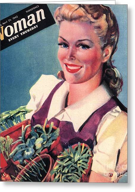 Woman 1942 1940s Uk Land Girls Dig Greeting Card by The Advertising Archives