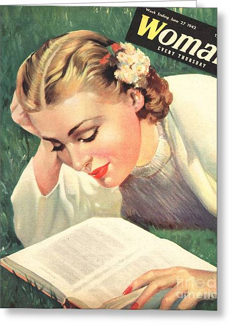 Woman 1942 1940s Uk People Reading Book Greeting Card by The Advertising Archives