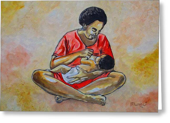 Greeting Card featuring the drawing Woman And Child by Anthony Mwangi
