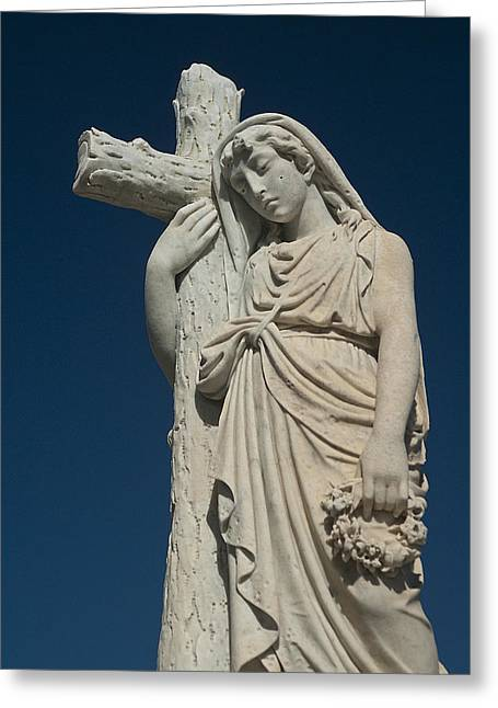 Woman And Cross Statue Greeting Card