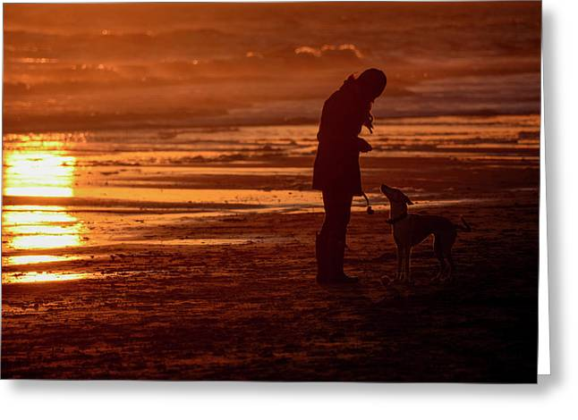 Woman And Dog  On The Beach  At Sunset Greeting Card