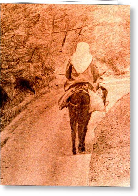 Woman And Donkey-going Home Greeting Card
