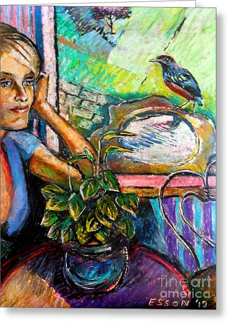 Woman And Robin Greeting Card by Stan Esson