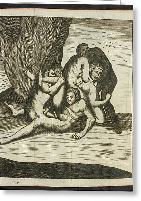 Woman And Several Men Having Sex Greeting Card by British Library