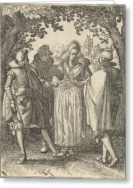 Woman And Three Men Greeting Card by Claes Jansz. Visscher (ii)