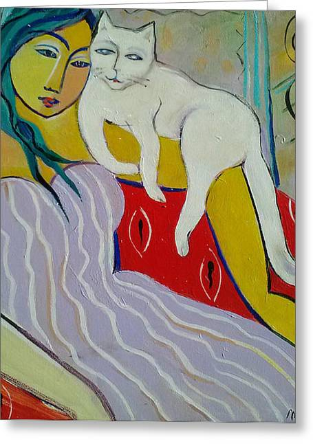Woman And White Cat Greeting Card by Marlene LAbbe