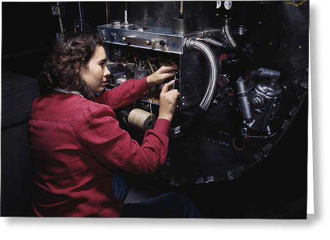 Woman Assembling Switch Boxes Greeting Card by Stocktrek Images