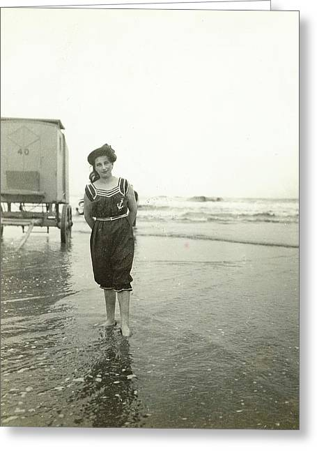 Woman At A Bathing Machine North Sea, The Netherlands Or Greeting Card