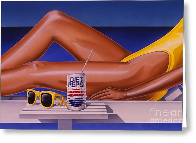 Woman At Beach With Diet Pepsi Greeting Card