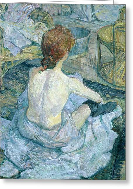 Woman At Her Toilet, 1896  Greeting Card by Henri de Toulouse-Lautrec