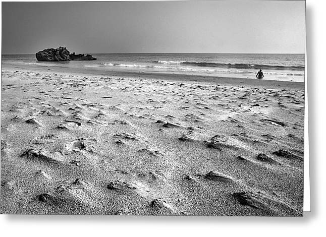 Woman At The Beach Greeting Card by Guido Montanes Castillo