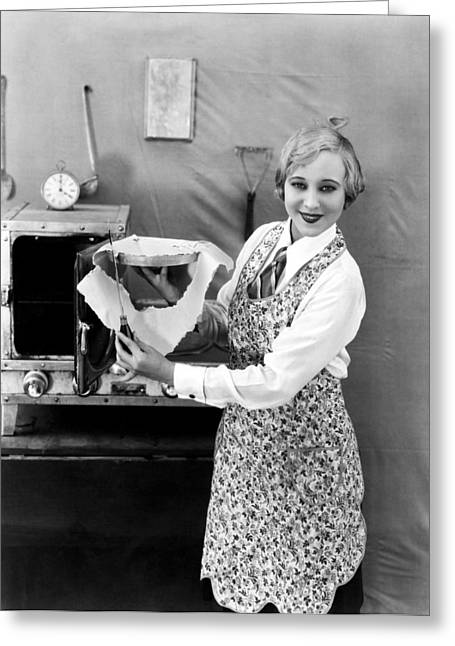 Woman Baking A Pie Greeting Card by Underwood Archives
