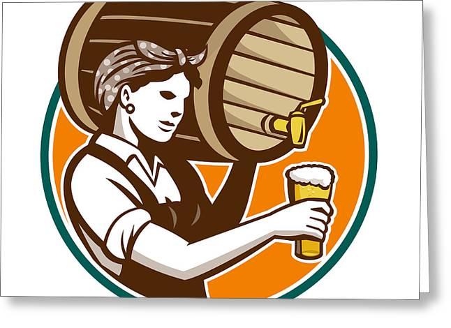 Woman Bartender Pouring Keg Barrel Beer Retro Greeting Card