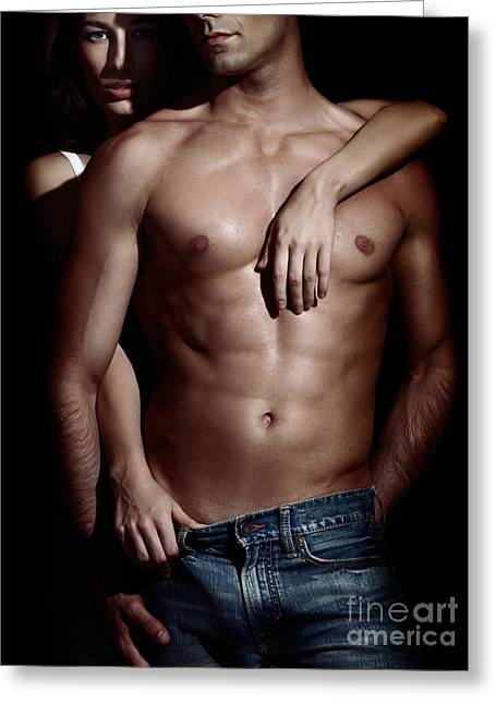 Woman Behind Sexy Man With Bare Torso And Jeans Greeting Card