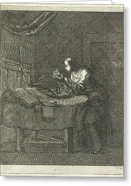 Woman Blowing At A Candle, Jan Luyken, Pieter Arentsz II Greeting Card by Jan Luyken And Pieter Arentsz Ii
