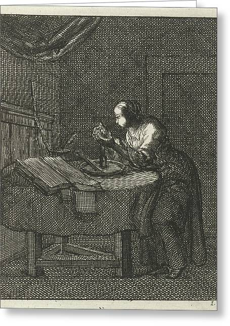 Woman Blowing At A Glowing Candle Wick, Jan Luyken Greeting Card by Jan Luyken And Pieter Arentsz (ii)
