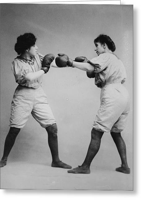 Woman Boxing Greeting Card by Bill Cannon
