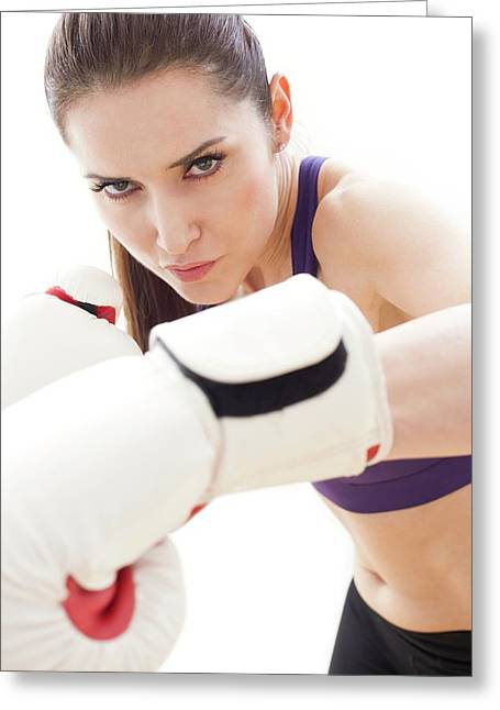 Woman Boxing Greeting Card
