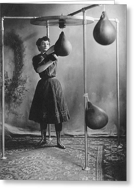 Woman Boxing Workout Greeting Card by Underwood Archives