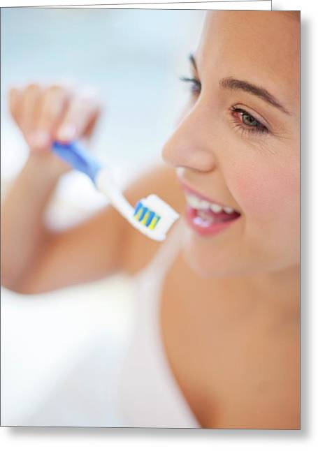 Woman Brushing Teeth Greeting Card