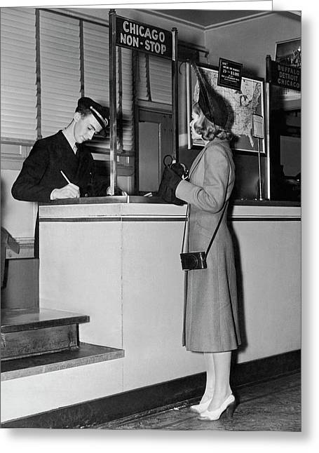 Woman Buying A Plane Ticket Greeting Card by Underwood Archives