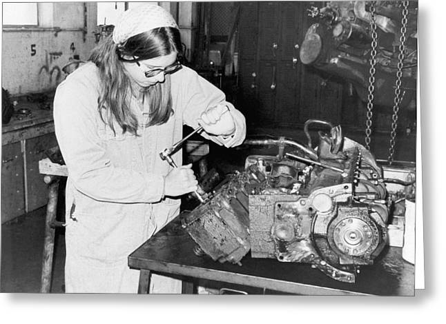 Woman Car Mechanic Greeting Card by Underwood Archives