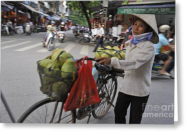 Woman Carrying Fruit On Bike Greeting Card