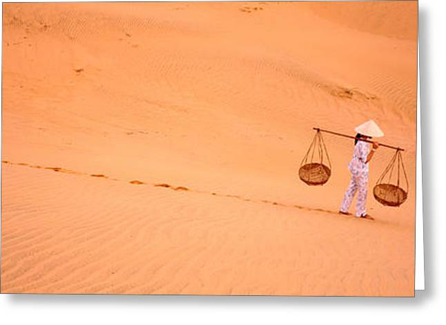 Woman Carrying Panniers, Mui Ne, Vietnam Greeting Card by Panoramic Images
