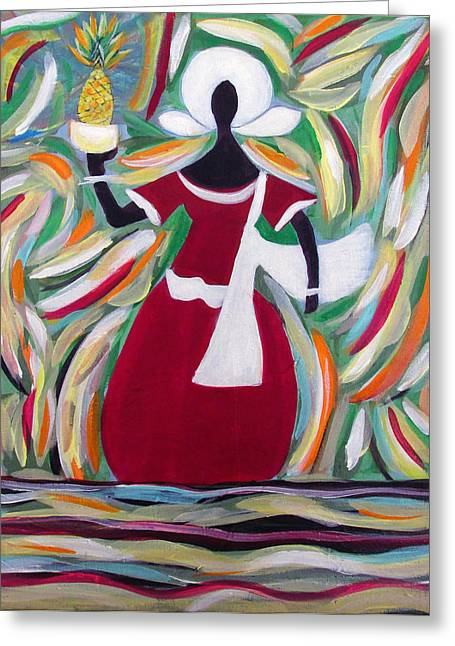 Woman Carrying Pineapple  Greeting Card by Fatima Neumann