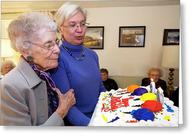 Woman Celebrating Her 95th Birthday Greeting Card by Jim West