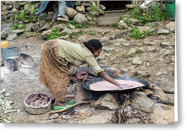 Woman Cooking Injera Greeting Card by Peter J. Raymond
