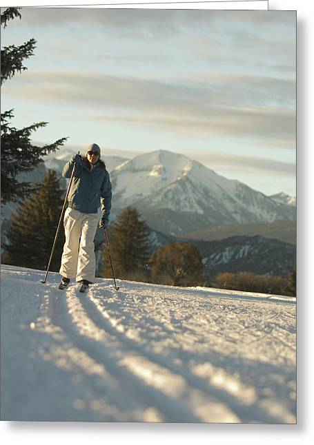 Woman Cross Country Skiing On Track Greeting Card