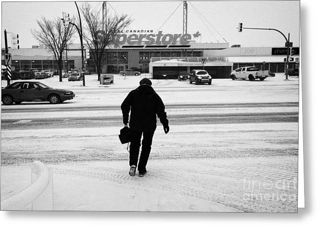 woman crossing the road towards supermarket 8th street Saskatoon Saskatchewan Canada Greeting Card by Joe Fox