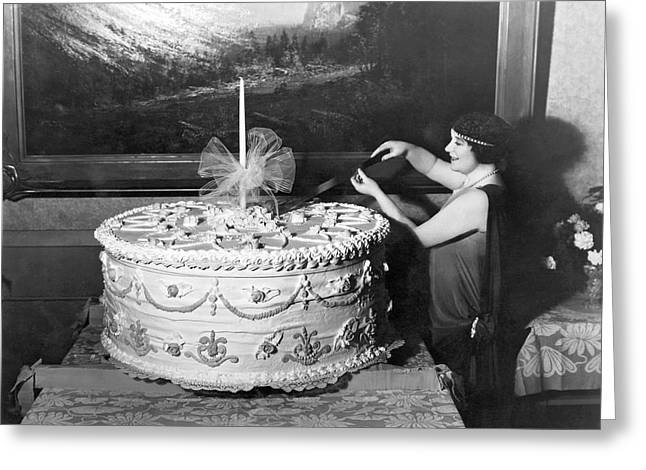 Woman Cuts 250 Pound Cake Greeting Card by Underwood Archives