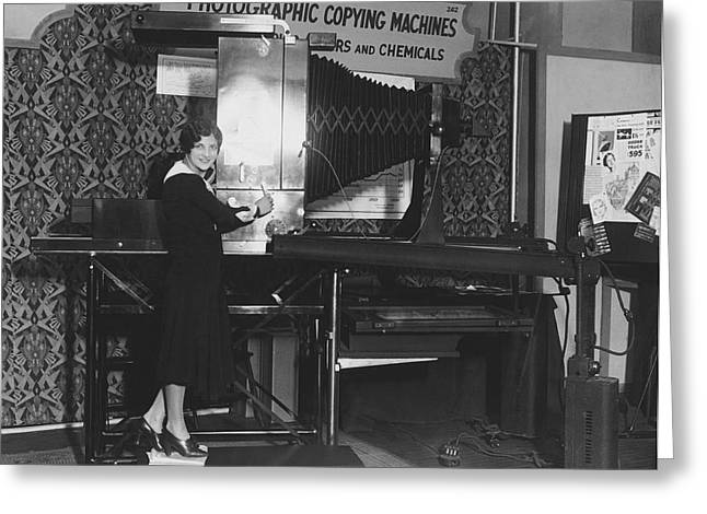 Woman Demonstrates 1930 Copier Greeting Card by Underwood Archives